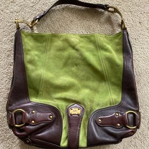 Michael Kors green suede brown leather